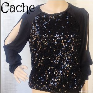 Cache black long cold shoulder sequined top M